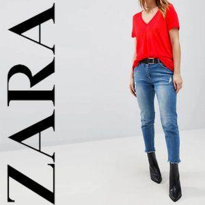 ZARA Red V neck Tee Size XL
